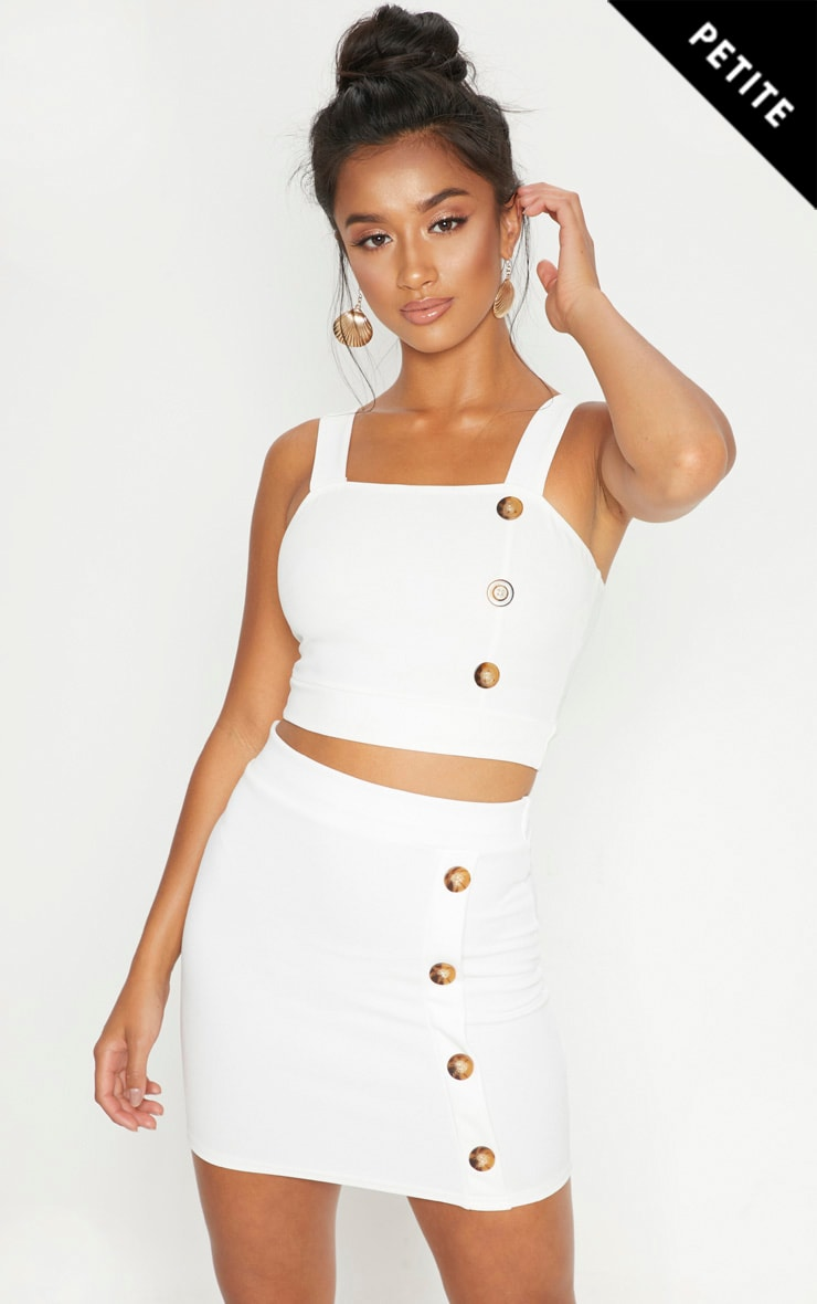 Petite White Button Detail Mini Skirt 1