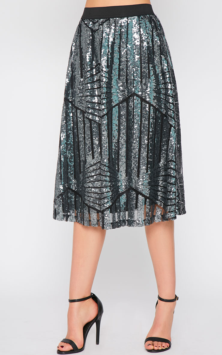 Amelia Silver Sequin Pattern A Line Skirt  5