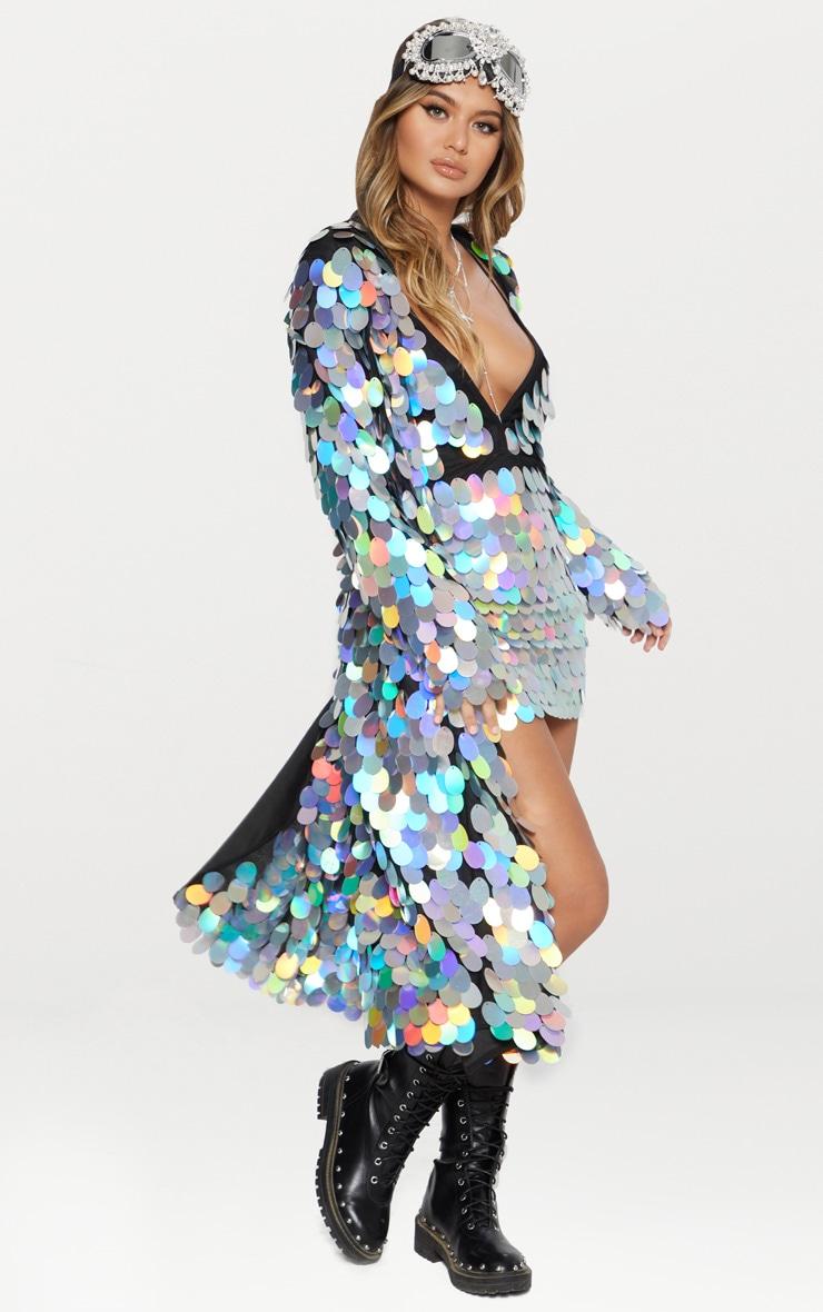 Silver Holographic Sequin Midi Kimono 2