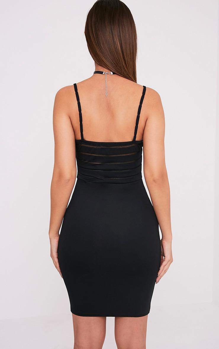 Harriette robe moulante à top en tulle à rayures noire 2