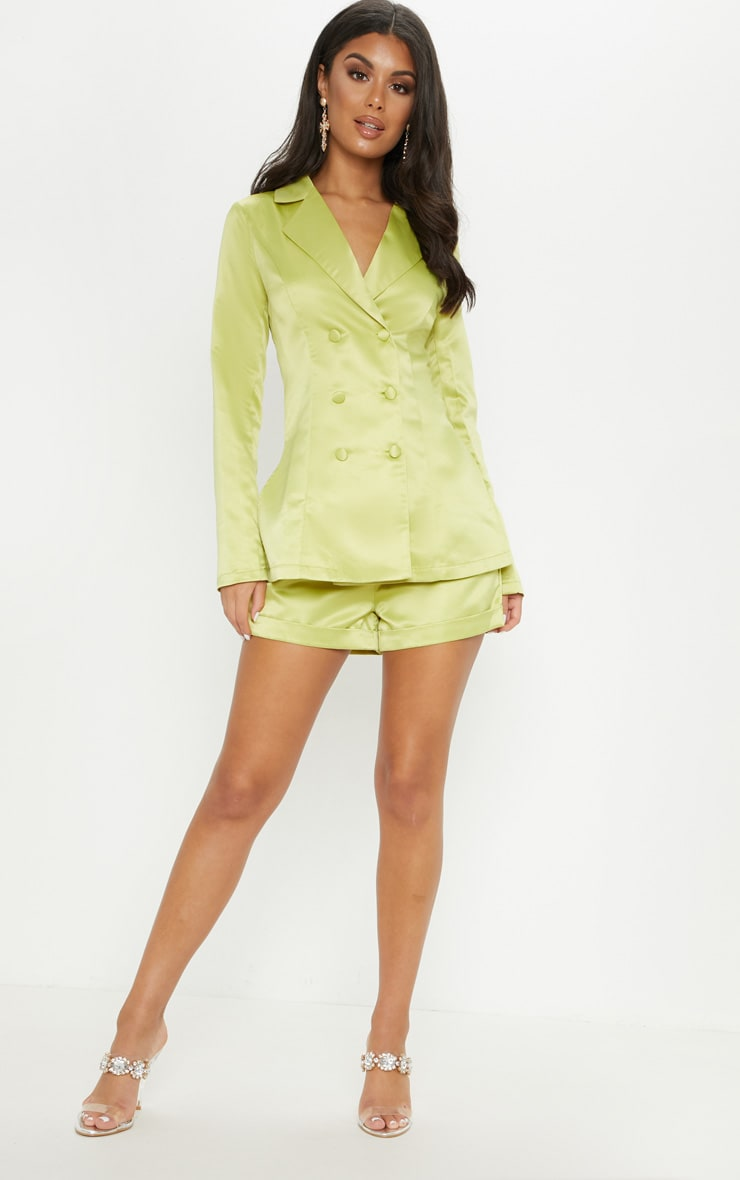 Lime Double Breasted Satin Jacket 4