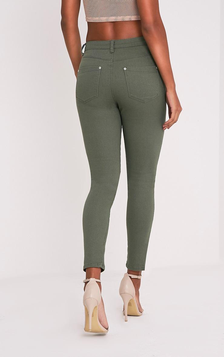 Khloe jean skinny kaki taille haute à boutons 2