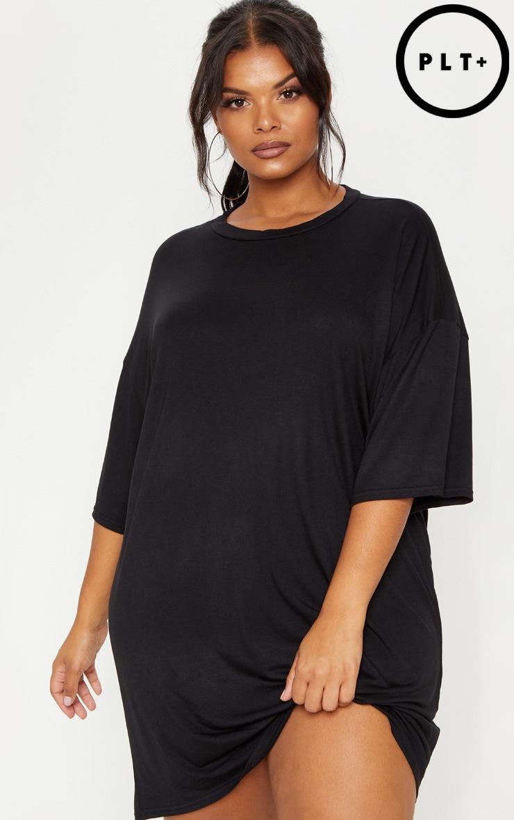 6db7337df4901 Plus Black T-shirt Dress 1