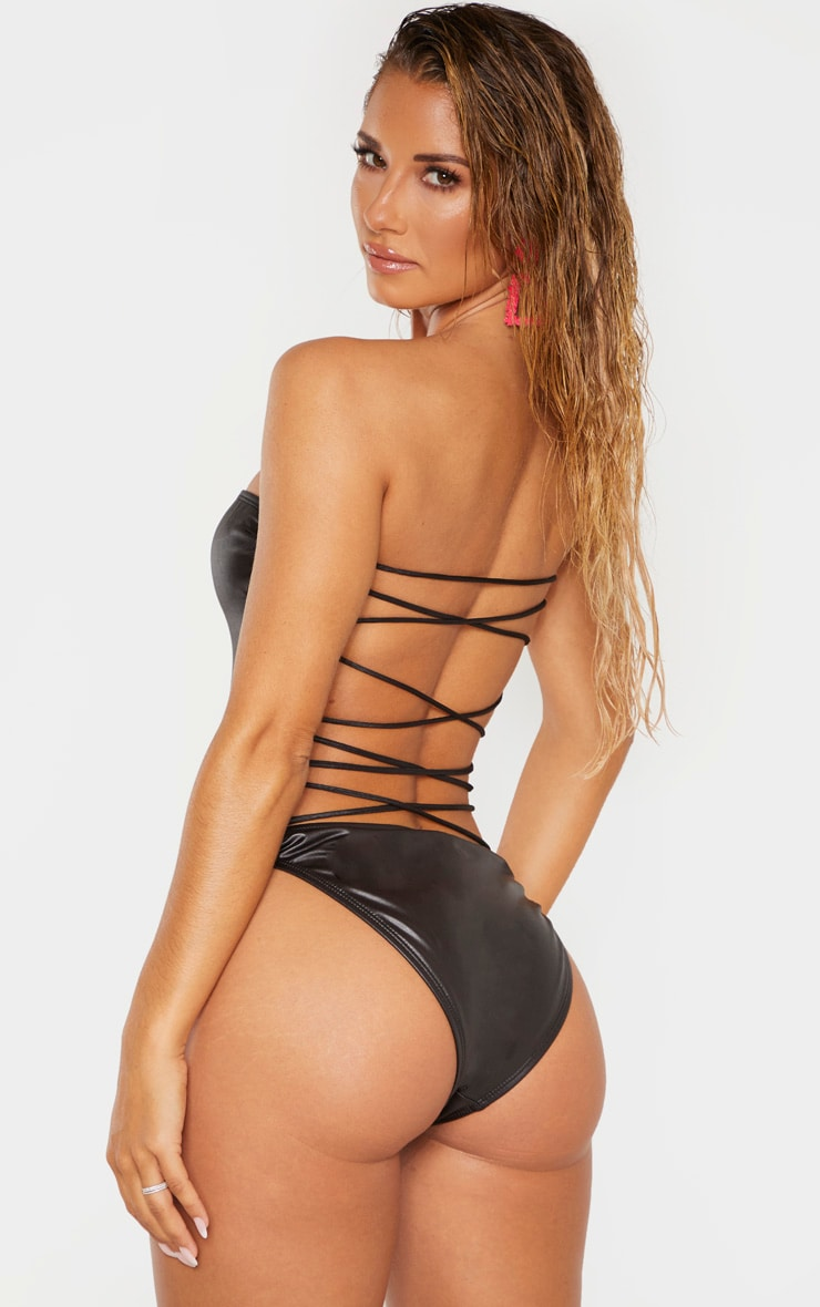 Black Wet Look Lace Up Beach Swimsuit 2