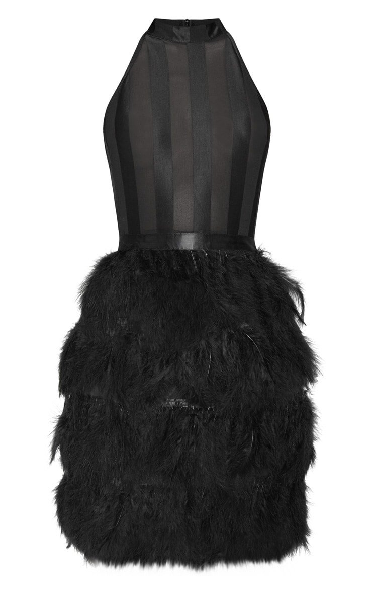 Black High Neck Sleeveless Mesh Feather Bodycon Dress 3