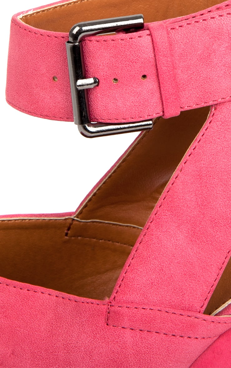 Sally Fuchsia Chunky Peeped Toe Heels 4
