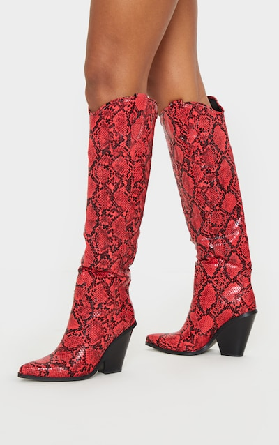 Red Snake Heeled Knee High Western Boot