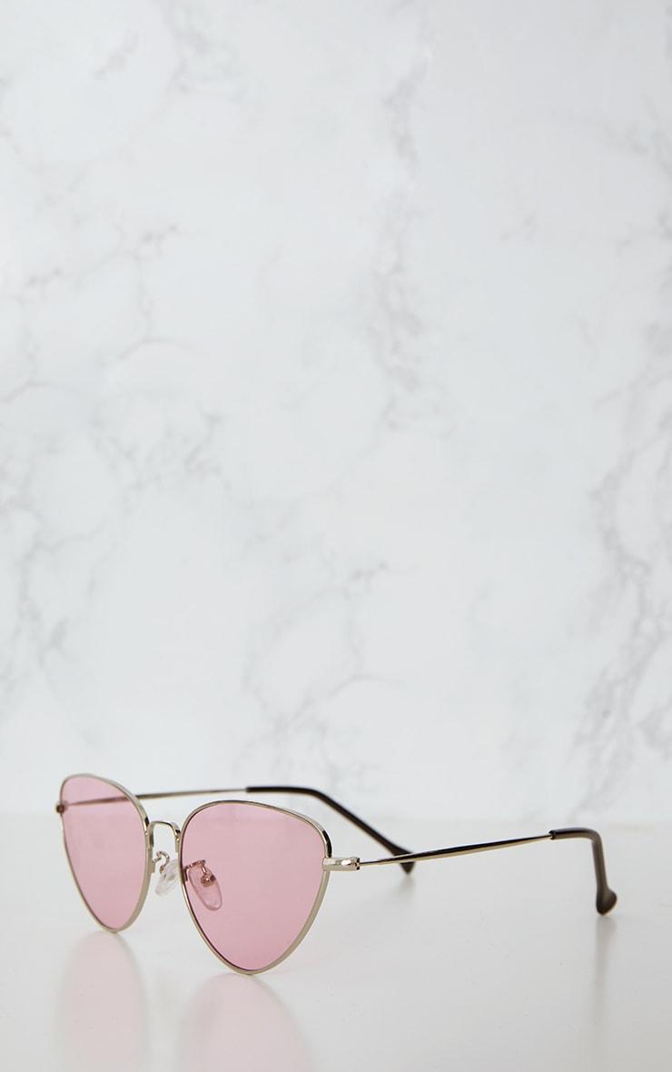 Lunettes rétro oeil de chat à verres roses 4
