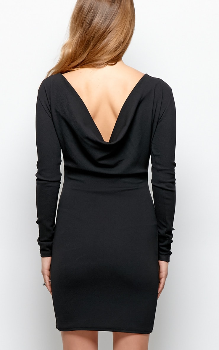 Gracie Black Cowl Back Dress 3