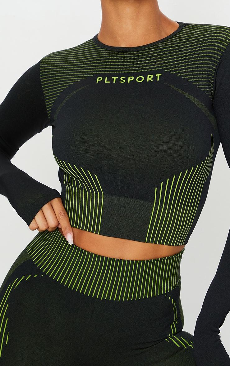 Black Contrast Long Sleeve Seamless Gym Crop Top 4