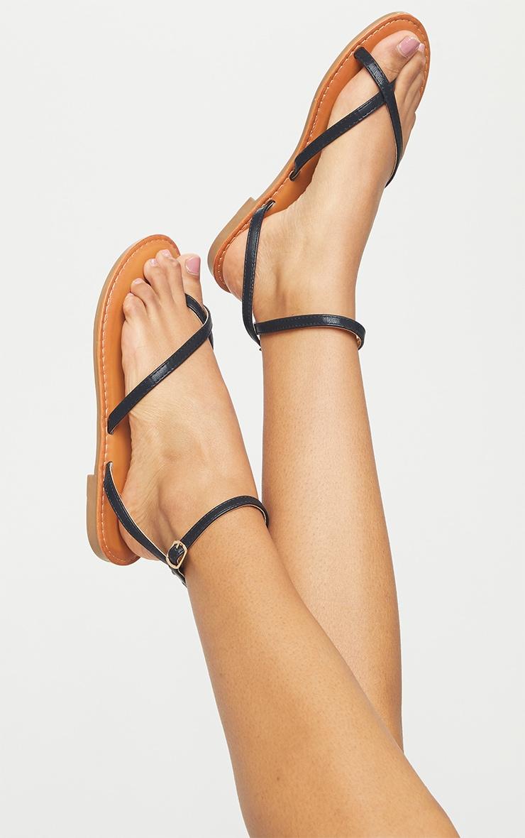 Black PU Cross Over Flat Mule Sandals 2