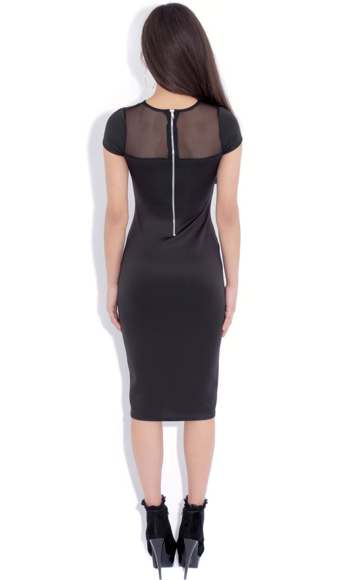 Whitney Black Mesh Panel Midi Dress 2