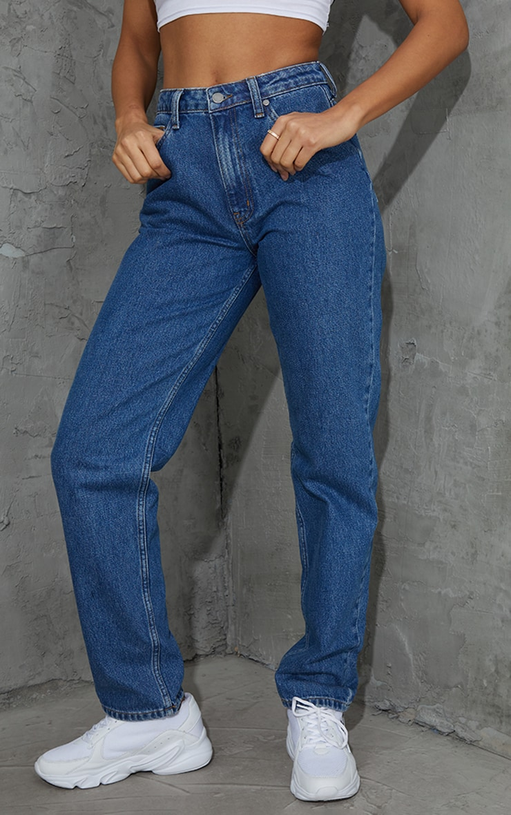 Mid Blue Wash Long Leg Straight Leg Jeans 2
