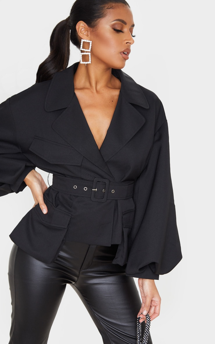 Black Woven Puff Sleeve Belted Jacket 1