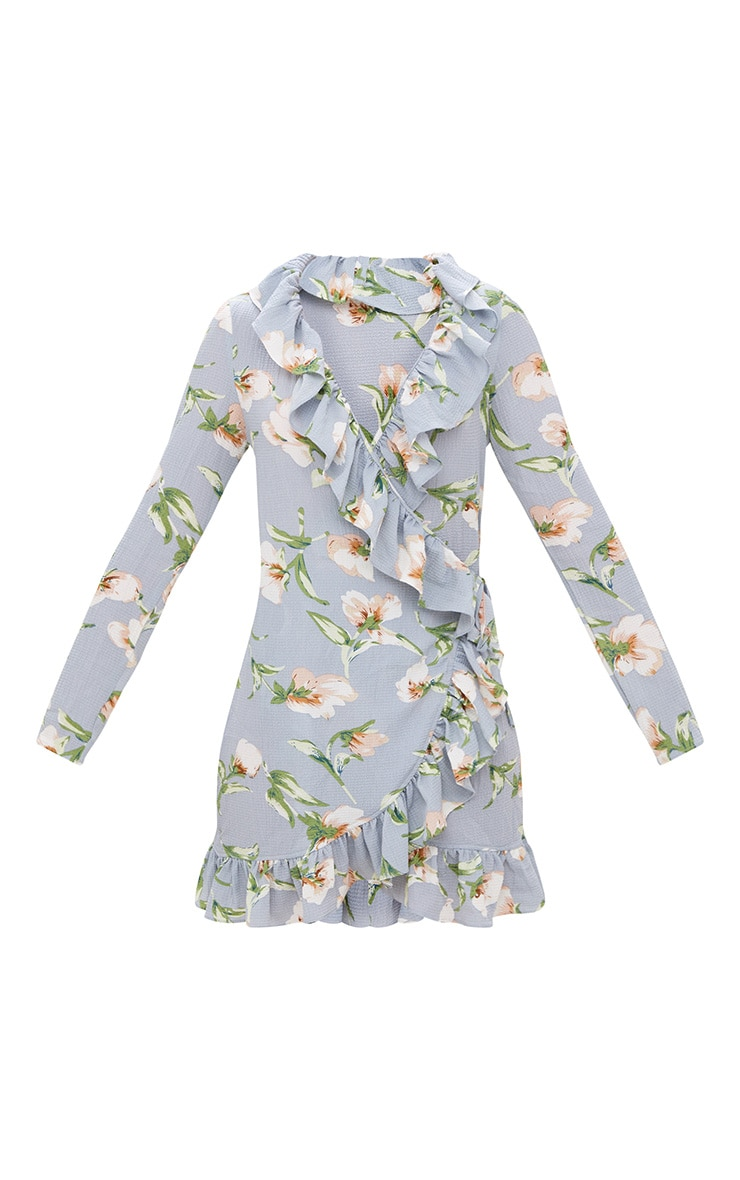 Dusty Blue Floral Frill Wrap Mini Dress 3