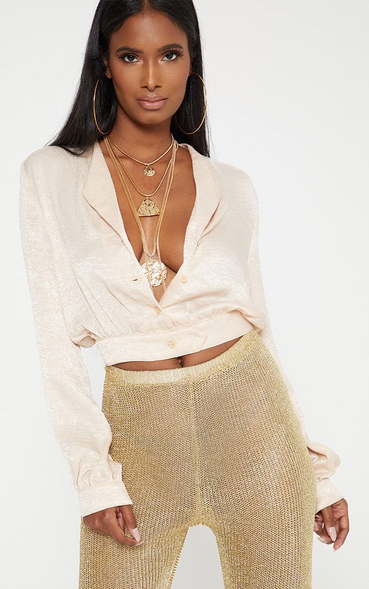 champagne Satin Button Front Crop Shirt  1