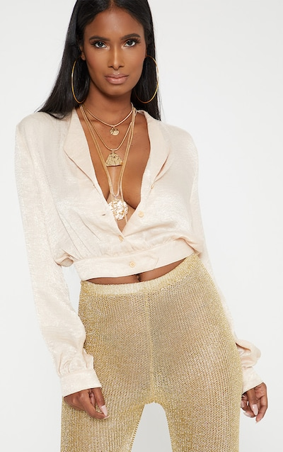 bbb17d8276d6a champagne Satin Button Front Crop Shirt