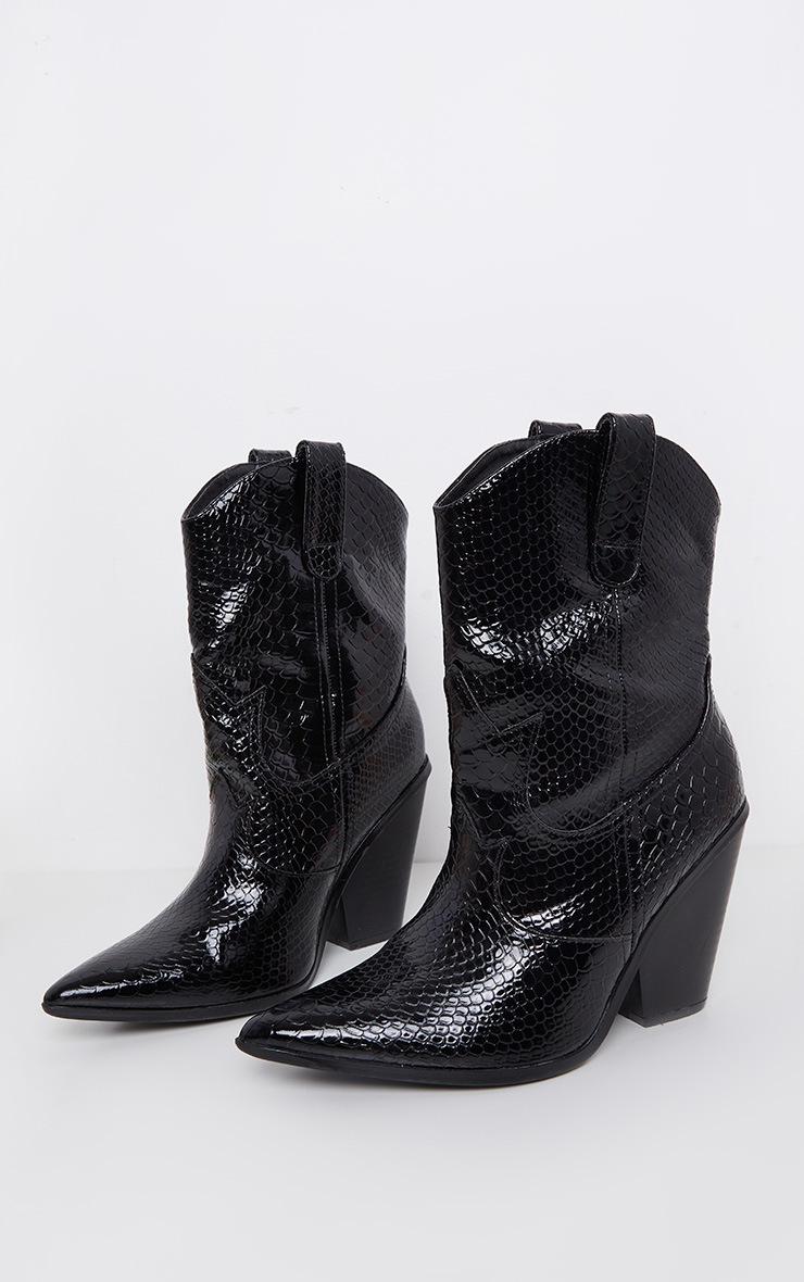Black Croc Western Boot 3