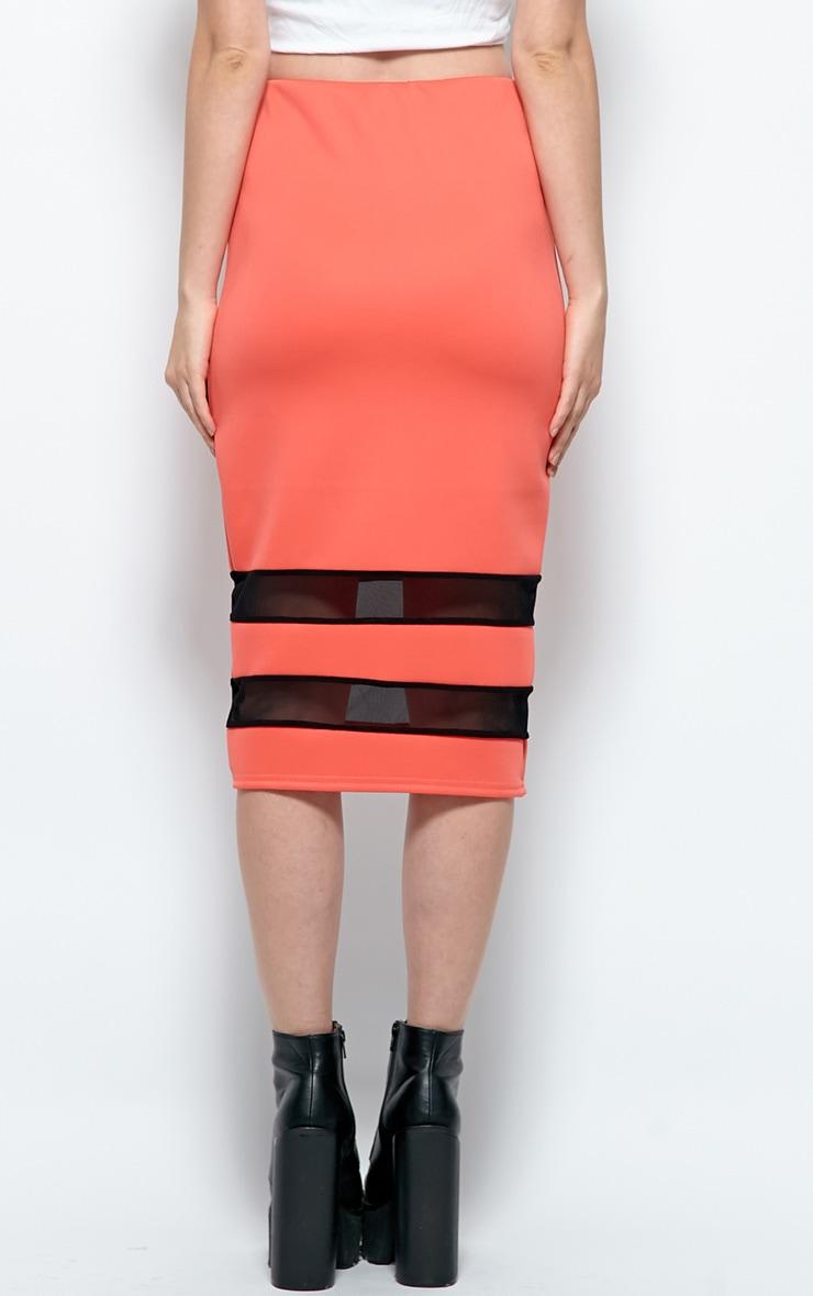 Cassandra Coral Mesh Panel Midi Skirt 2