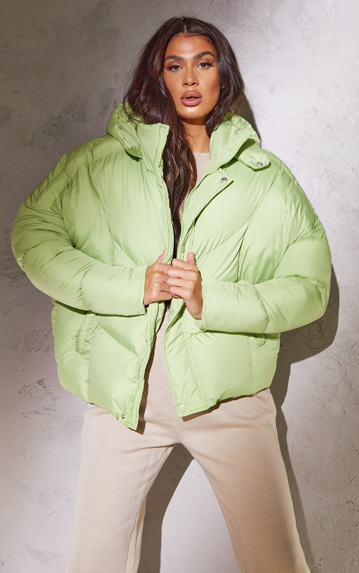RENEW Tall Sage Green Nylon Oversized Curved Panel Puffer Jacket 1