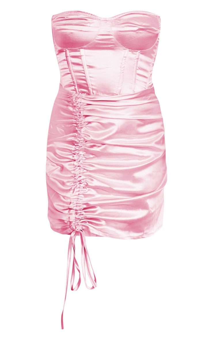 Side dress ruched bodycon satin pink bandeau baby usa mustard