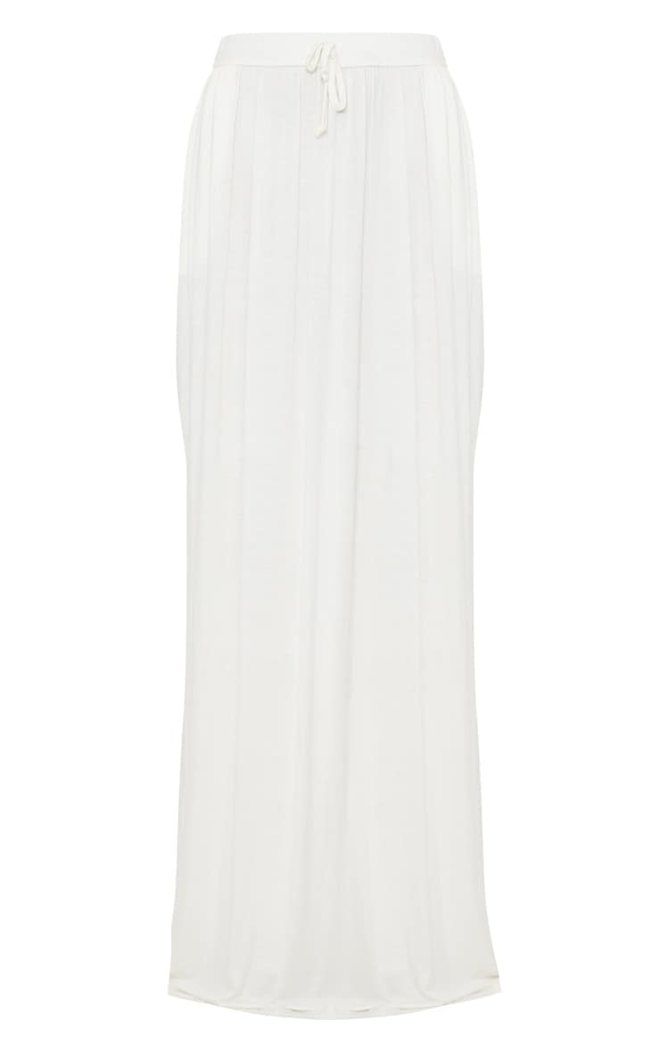 White Jersey Drawstring Maxi Skirt 3