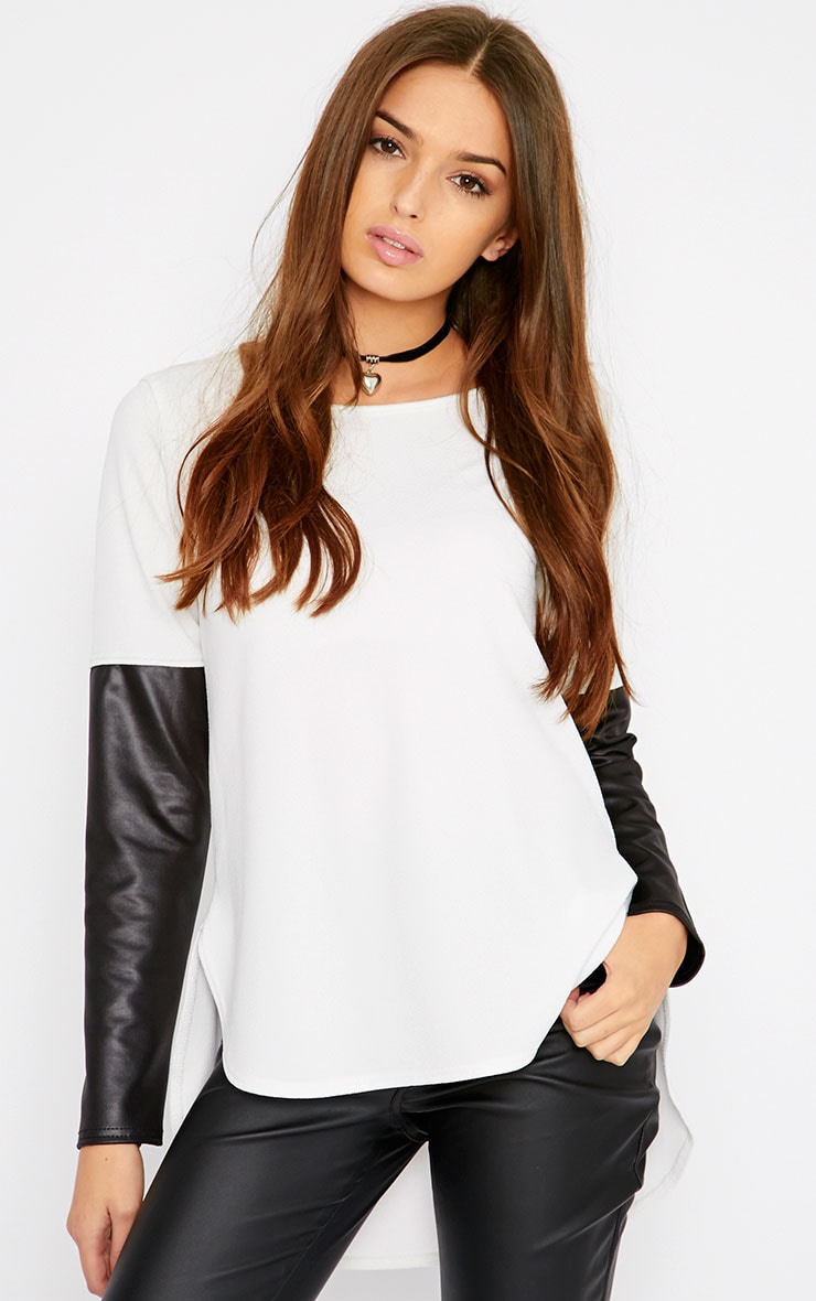 Sydney Cream Leather Sleeve Drop Hem Top  1