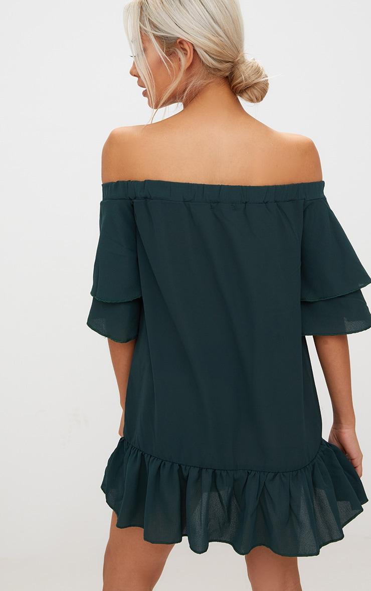 Forest Green Bardot Double Frill Shift Dress 2