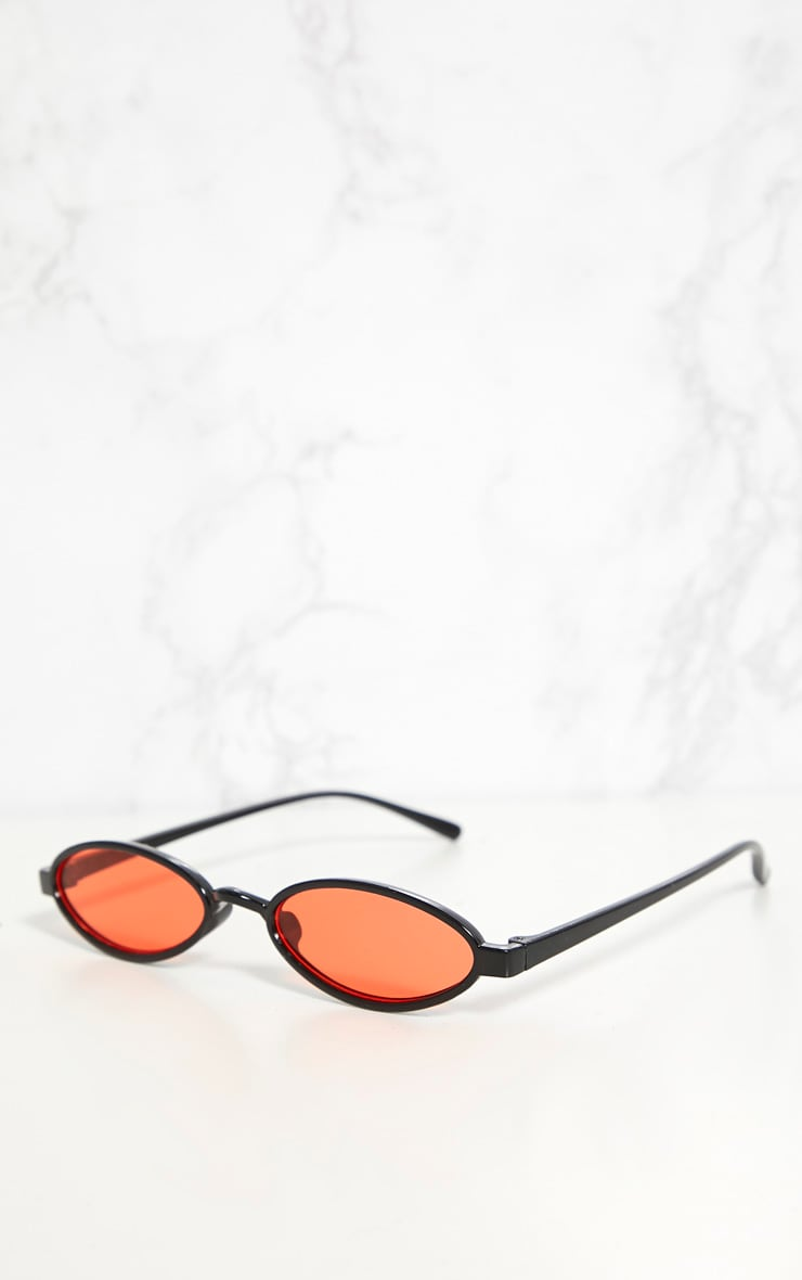 Orange Lens Small Oval Sunglasses 3