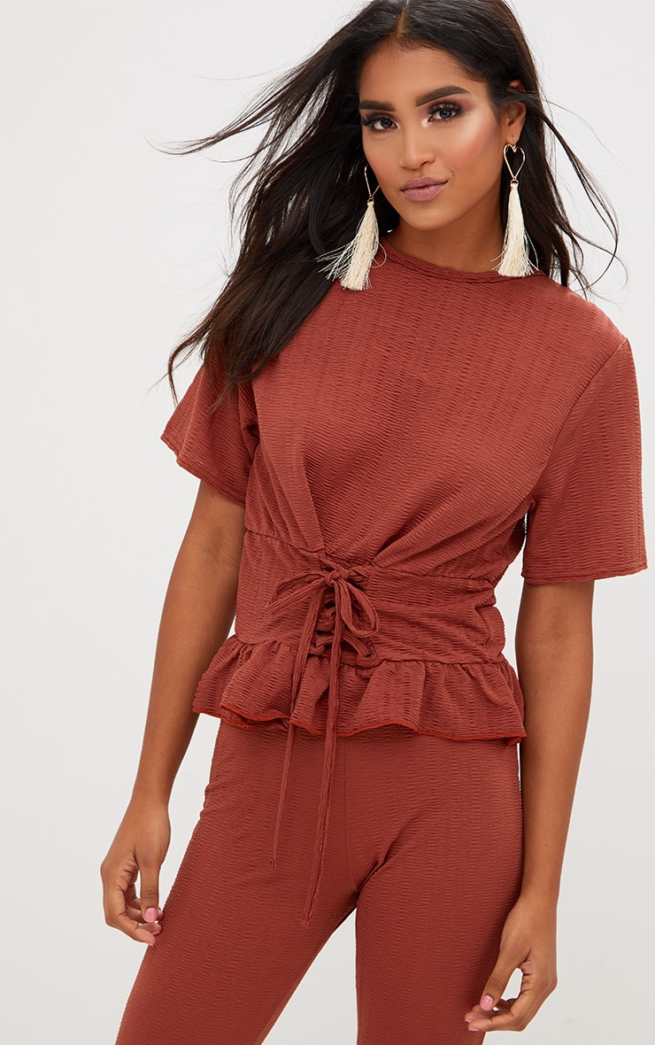 Rust Crinkle Lace Up Frill Top 1