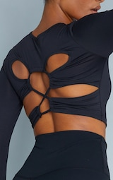 Black Sculpt Long Sleeve Lace Up Back Sport Top 4