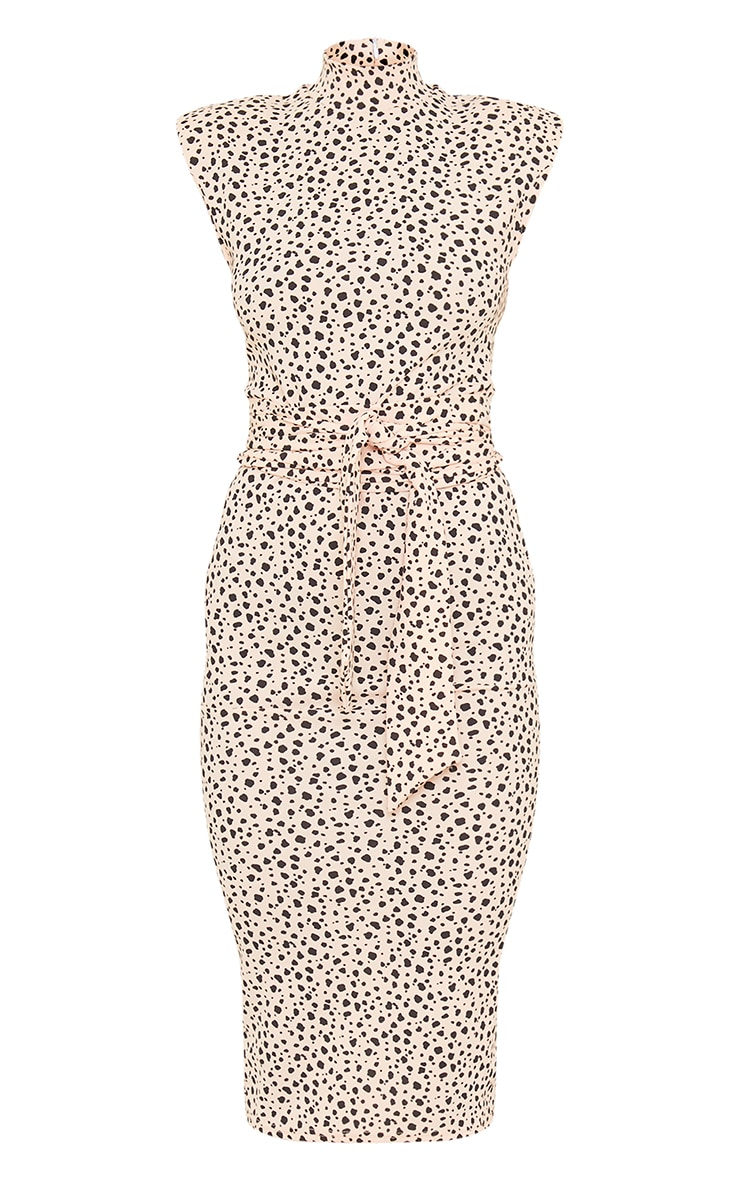 Nude Dalmatian Shoulder Pad Tie Waist Midi Dress 5