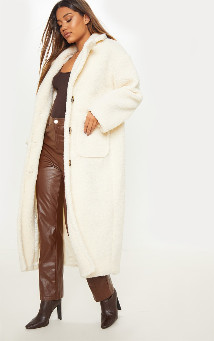 Cream Maxi Borg Coat 4