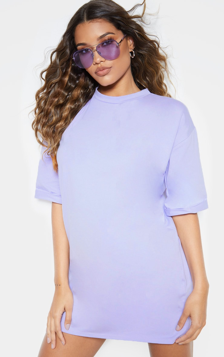 Lilac Oversized Boyfriend T Shirt Dress 4