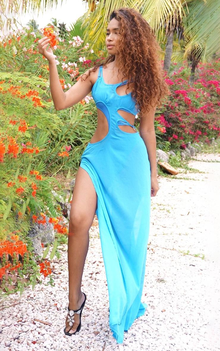 Blue Cut Out Ring Maxi Dress 4