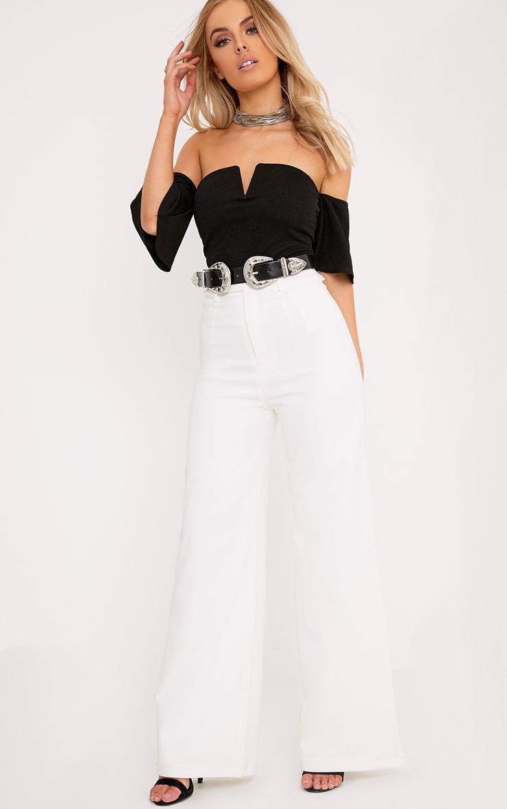 Cassandra Black Bandeau V Front Sleeved Thong Bodysuit 5