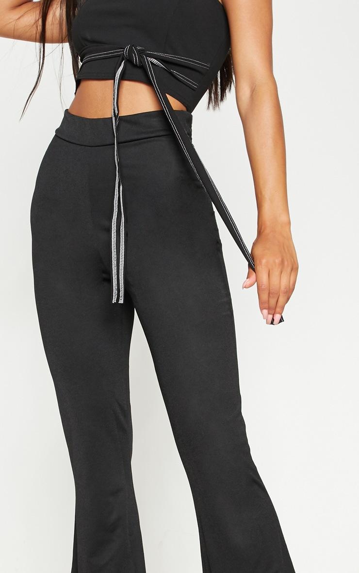 Black Contrast Stitch Flare Trouser  5