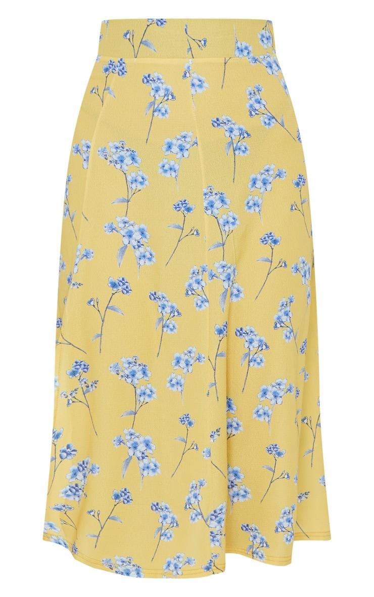 Yellow Floral Floaty Midi Skirt 5