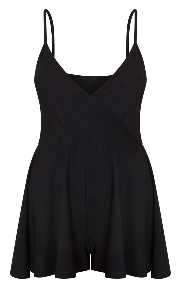 Black Crepe Strappy Wrap Romper 3
