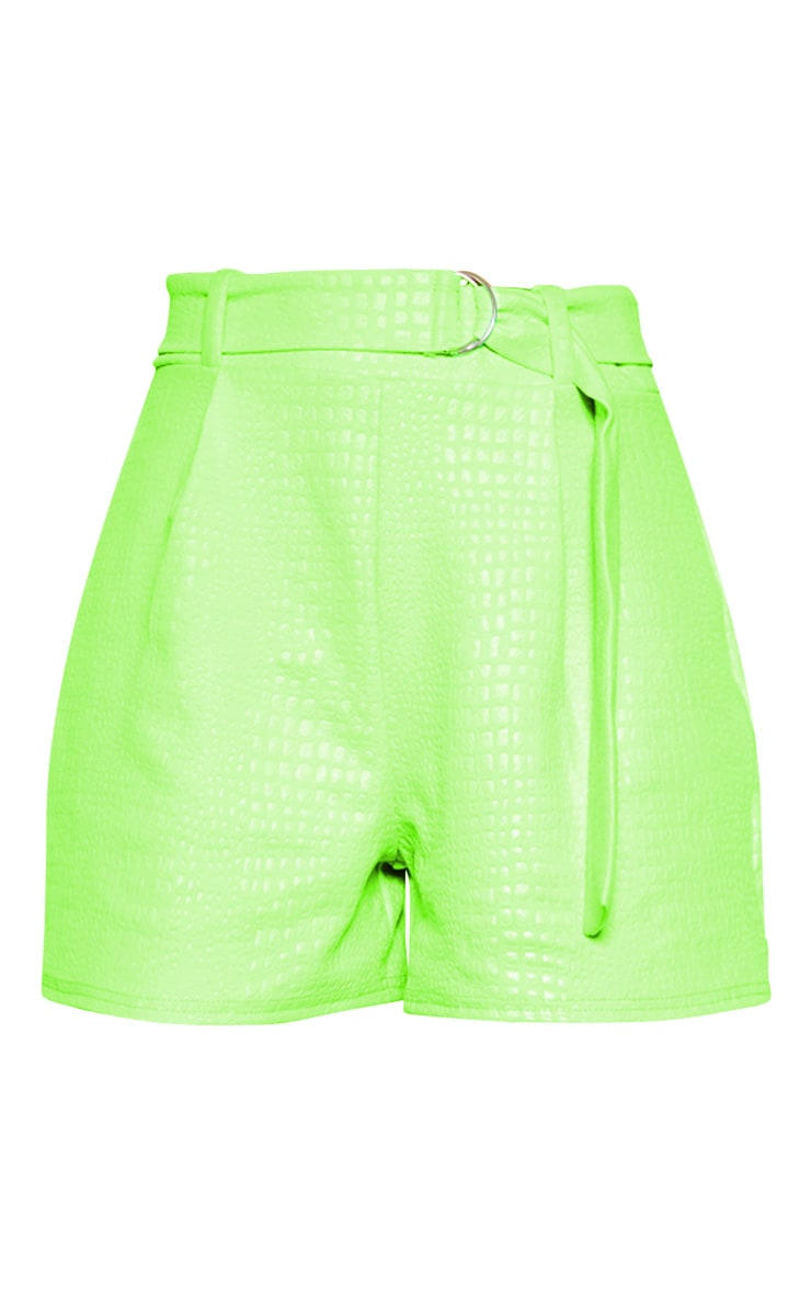 Neon Green Croc Print D Ring Belted Short 3