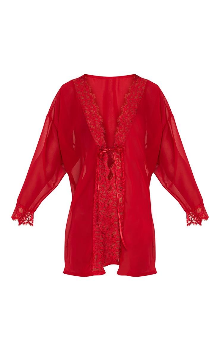 Hazel Red Chiffon Short Dressing Gown 3