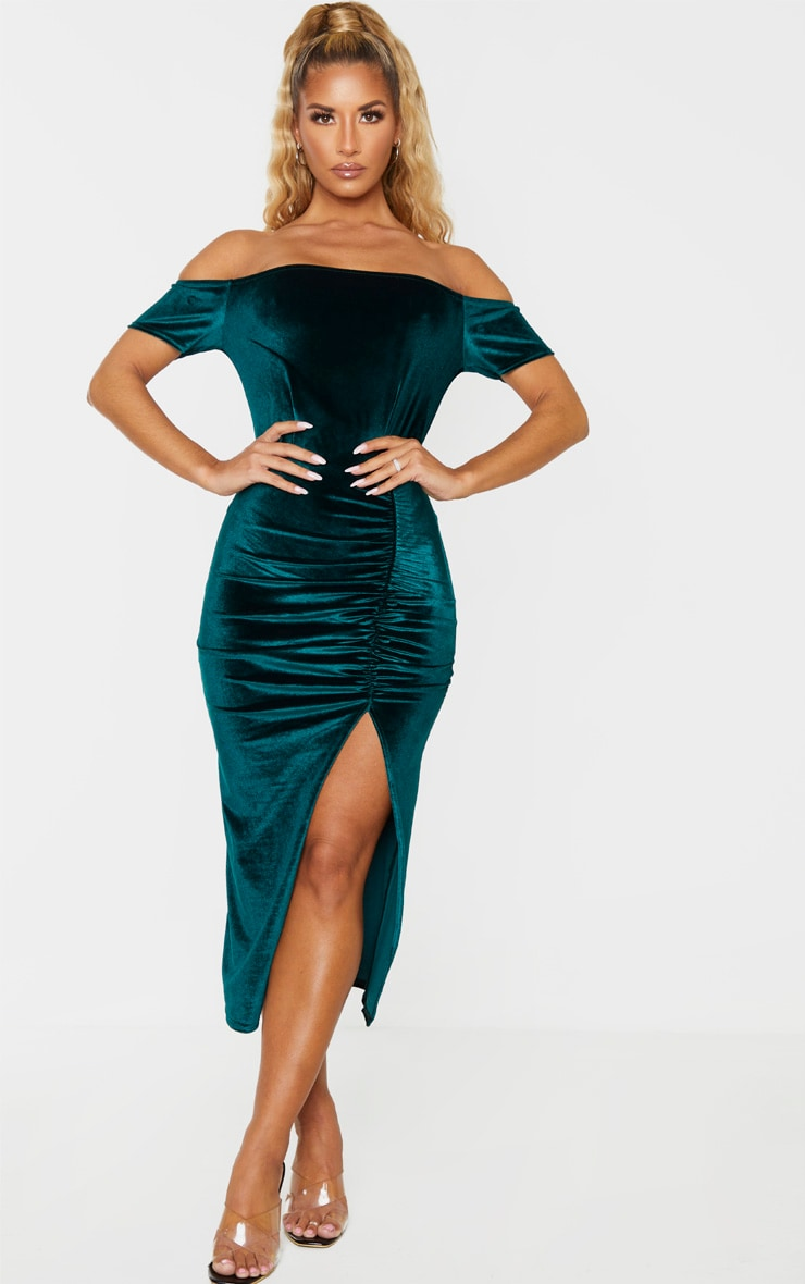 Emerald Green Velvet Bardot Ruched Skirt Midi Dress 1