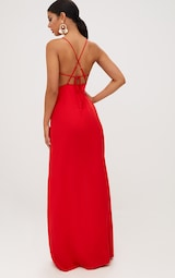 17fe308e3f4 Red Strappy Back Detail Chiffon Maxi Dress. Dresses