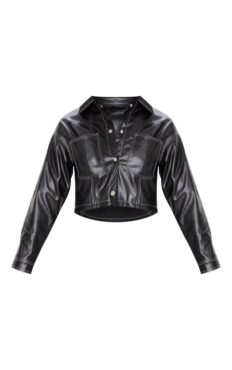 Black Faux Leather Contrast Stitch Crop Jacket 3