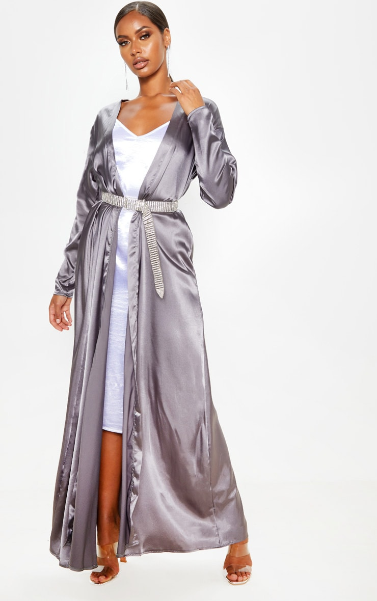 Charcoal Satin Kimono  by Prettylittlething