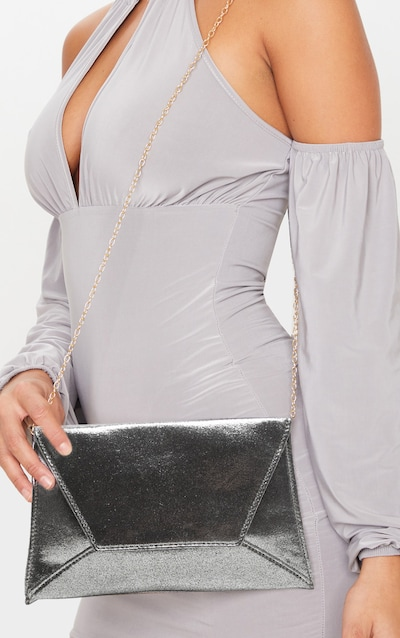 Pewter Shimmer Envelope Clutch Bag