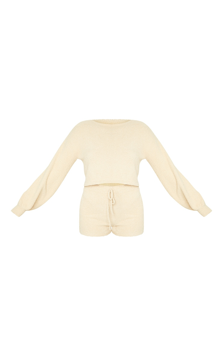 Sand Chenille Balloon Sleeve Jumper And Shorts Lounge Set 5