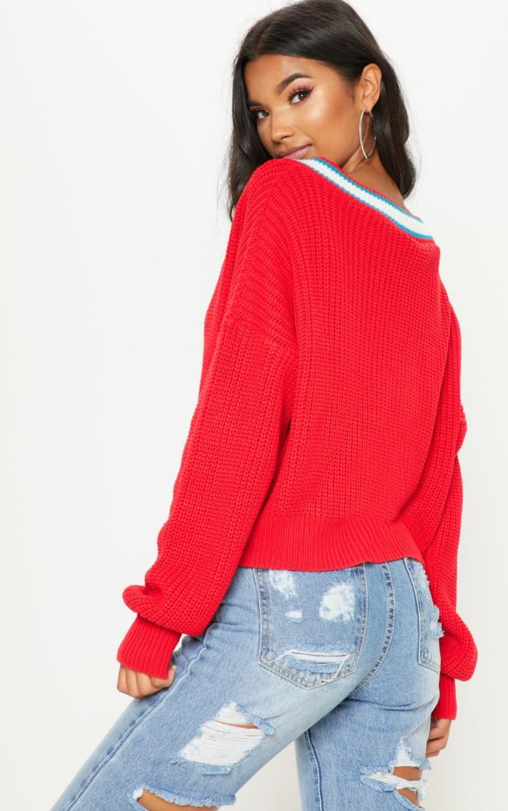 Red V Neck Knitted Jumper  2