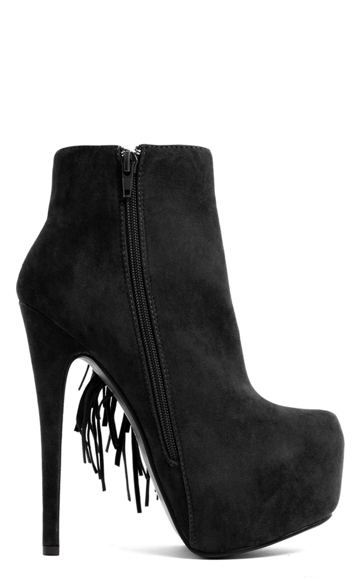 Ally Black Fringe High Heel Ankle Boots 2