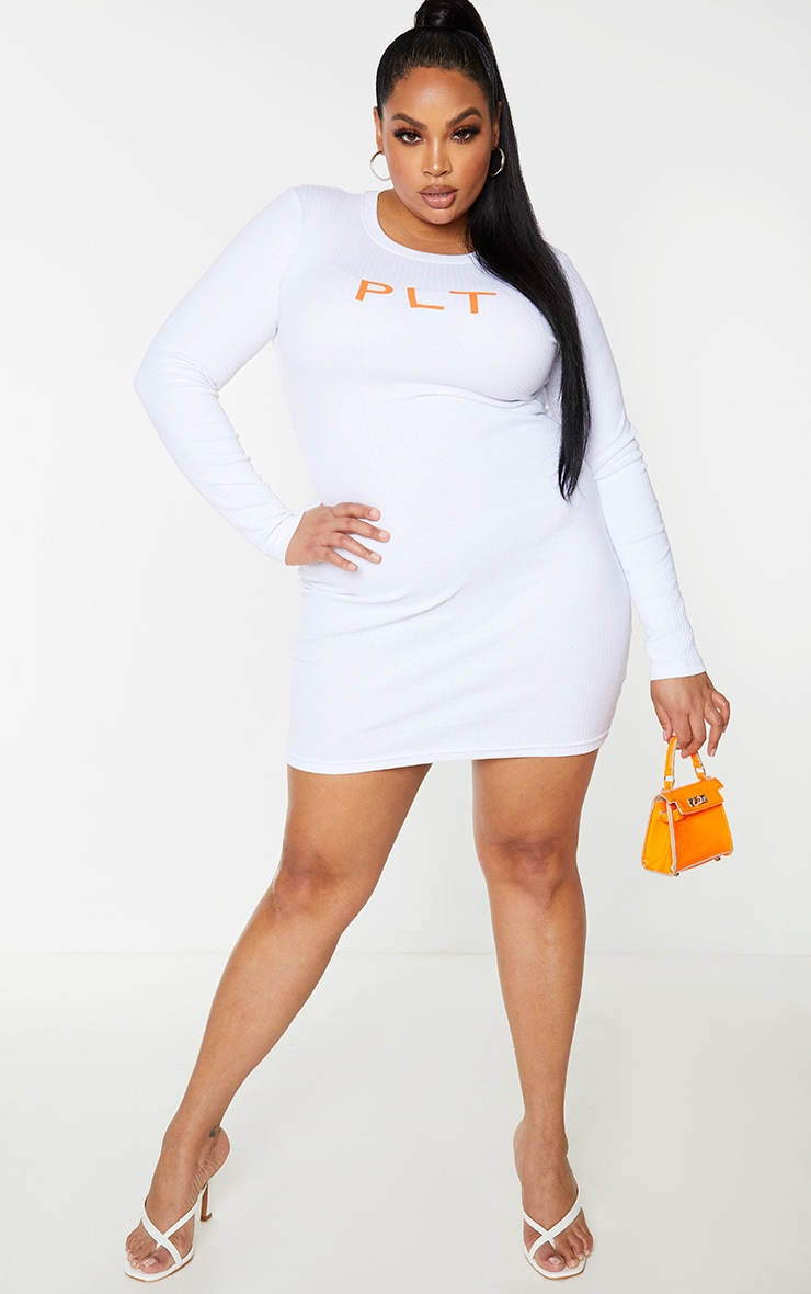 PRETTYLITTLETHING Plus White Rib Long Sleeve Bodycon Dress 1